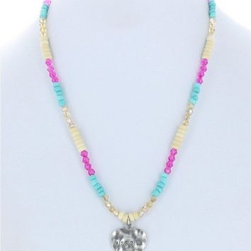 Girls Miss Diva Hammered Heart Necklace
