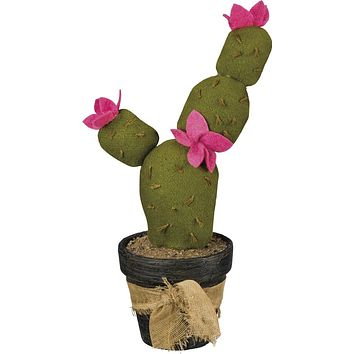 Fabric Prickly Pear Cactus With Pink Flowers