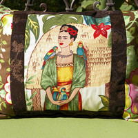 Frida in the Garden with Parrots Decorative Mini Pillow