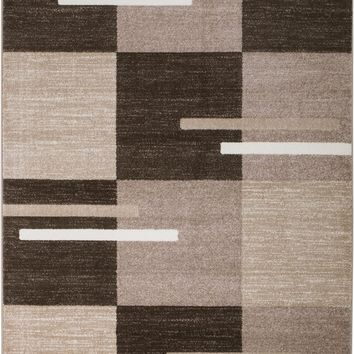 2081 Brown Beige Abstract Contemporary Area Rugs