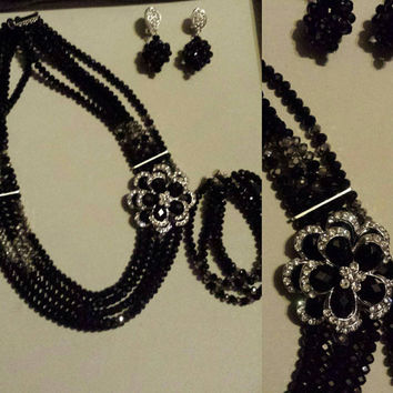 Vintage & In-trend Nigerian jewelry set-necklace,bracelet, and earrings (black n silver) bridal set/wedding/baby shower/formal party/ gift