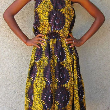 African Clothing - African Print Midi Legth Max Dress - Size US 6 (UK 10)