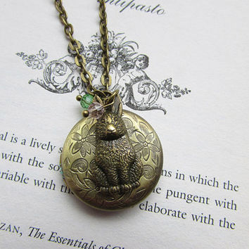 Bronze Floral Locket necklace with vintage rabbit charm and tiny hanging crystals, on a long necklace chain