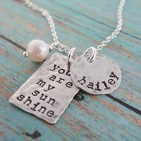 You Are My Sunshine Necklace Silver Hand Stamped Name Necklace