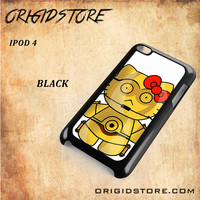 C3PO Hello Kitty Star Wars Black White Snap On 3D For Ipod Touch 4 Case