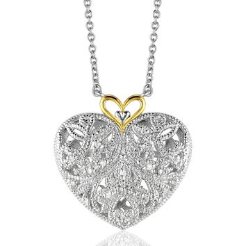 Sterling Silver and 14K Yellow Gold Filigree Heart Pendant with Diamond Accent