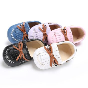 1 Pair Spring Autumn Baby Boys Girls Shoes Newborn Leather Crib Soft Sole  Sneakers Shoes Suitable For 0-24 Months Baby