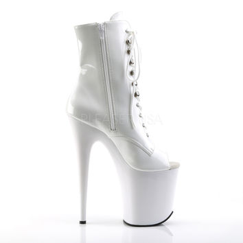 "Flamingo 1021 White Patent 8"" Heel Platform Ankle Boot"