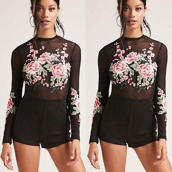 Women Lady Long Sleeve Romper Jumpsuit Bodysuit Stretch Leotard Top Blouse US
