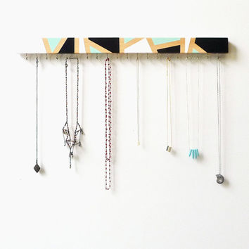 Wood Jewelry Holder - Modern Jewelry Display - Necklace Holder - Wall Mounted Wood Jewelry Holder - Jewelry Hanger, Geometric Design