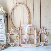 Pink Vintage Frames Ornate Oval Picture Frames Pink Decorative Ballet Slippers, Antique Pink and Gold Frames, Pink Nursery Frames, Gift Idea