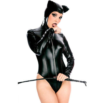 Black Leather Sexy Catsuit Catwoman Costume Lingerie Halloween Costumes for Women Disfraces Carnaval Adultos