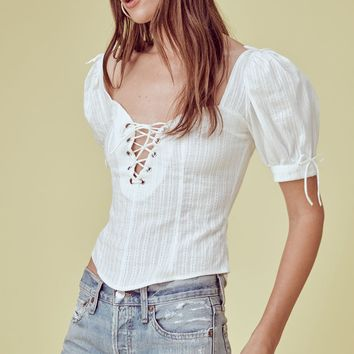 Anabelle Lace Up Blouse – For Love & Lemons