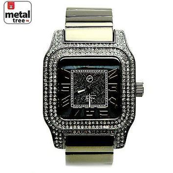 Jewelry Kay style Men's Hip Hop Iced Out Analog Stainless Steel Metal Heavy Band Watches 7970 HE