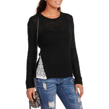 No Boundaries Juniors Scoop Neck Sweater with Crochet Lace - Walmart.com