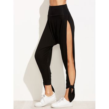 Wide Waistband Split Side Tied Hem Harem Pants (Monthly Membership)