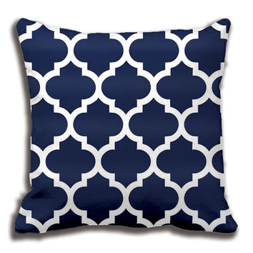 Navy Blue White Moroccan Quatrefoil Pattern Throw Pillow Decorative Cushion Cover Pillow Case Customize Gift By Lvsure For Sofa