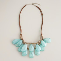Mint and Brown Suede Teardrop Necklace - World Market