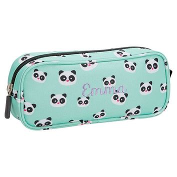 Gear-Up Panda Pencil Case, Pool w/ Black Trim