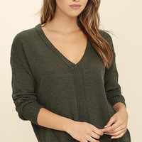 Staying In Olive Green Sweater Top