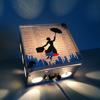 Mary Poppins Vintage Dictionary Print Design Repurposed Upcycled Light Box Night Lights