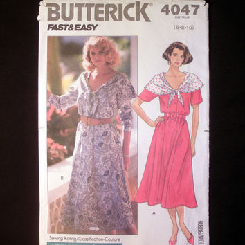 Women's Dress Misses' Size 6, 8, 10 Butterick Fast & Easy 4047 Vintage Sewing Pattern Uncut