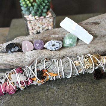 Sage and Healing Stone Kit, Rose, Wildflower & Sage Bundle, Wiccan Altar Supplies, Amethyst, Geode Cave, Crystal Healing Wicca Stone Set