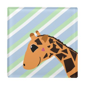 Cute Giraffe Drawing with Stripes Glass Coaster