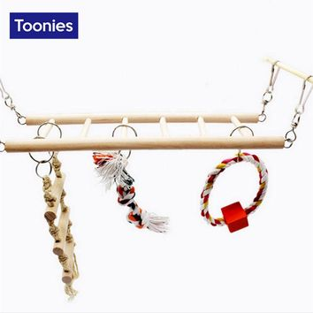 Fun Wooden Toys New Type Good Quality Hamster Bird Toys Parrot-toys Toy for Parrots Ladder With Cleaning Tooth Cotton Rope Hot