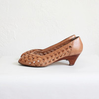 Vintage 70s Brown Open Woven Leather Heels | Women's Peep Toe Heels Sz 8