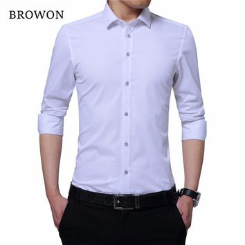 Men Smart Casual Shirt Embroidered Collar Long Sleeve Solid Color Men Formal Shirt