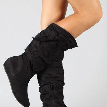 *Wild Diva Lounge Knotted Suede Slouchy Wedge Boot