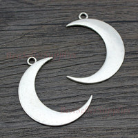 10 PCs - Moon, Moon Charm, Moon Pendant, New Moon, Crescent Moon, Silver Moon Charm, Craft Supplies, Jewelry Making, Findings, 44*32mm