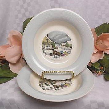 American Limoges, China Dinnerware New Yorker Currier & Ives Gray 2 soup bowl