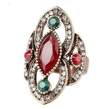 Antique Red and Green Marquise Stone Gold Ring
