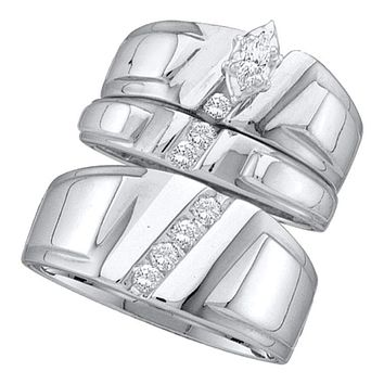 10k White Gold Marquise Diamond Solitaire Couple's Matching Trio Wedding Set - FREE Shipping (US/CA)