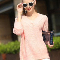 Pink V-Neck Knitted Sweater