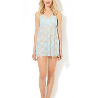 BETSEY BLUE BABYDOLL SET WITH BOW DETAILS BLUE