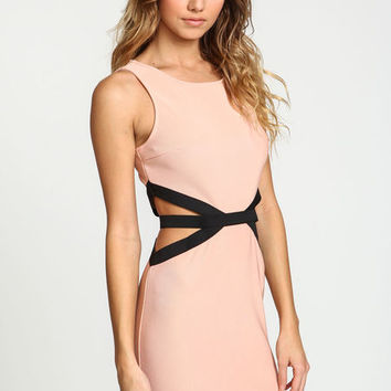 PINK CUT OUT CONTRAST DRESS