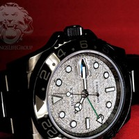 Black ROLEX GMT Master II Diamond Pave Dial KingsLife Limited Edition DLC / PVD