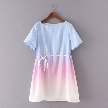 Summer Shaped Gradient Stripes Round-neck Short Sleeve One Piece Dress [8173562887]