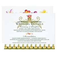 Elegant Floral Tropical Summer Wedding Details Card