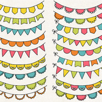 ON SALE. Birthday Bunting Banner Clip Art. Hand Drawn Bunting Banners. Doodle Party Garland Clipart. Birthday Flag - Pink, Green, Yellow.