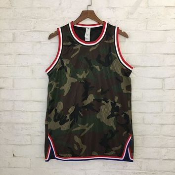 0eb649b0f40be FOG Camo Vest Men Women Summer Mesh Military Skateboard Sleeveless T-Shirt  Striped Tank Tops