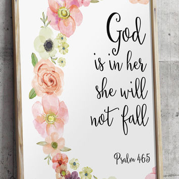 Psalm 46:5 Printable wall decor Bible verses God is within her she will not fall Nursery verse print decor scripture art printable BD-356