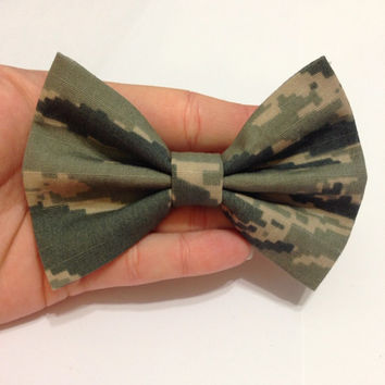 ABU Air Force Tiger Stripe Military Camouflage Fabric Hair Bow - CHOOSE Your Size!