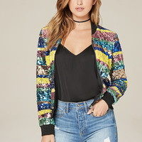 Sequin Stripe Bomber Jacket | bebe