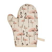 Flamingo Party Oven Mitt - Space 1a - organic - gift for friend - gift for Mom - flamingo print - gift for cook - eco friendly