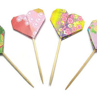 Cupcake Topper Kimono print Heart Valentine Cake Topper Origami Heart Table Decor Wedding Cake Toppers Valentine Decoration Valentines Day