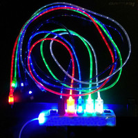1pcs Beautiful 1M LED Light Durable Micro USB Cable Charger Data Sync Cord For Samsung Galaxy S3 S4 S5 HTC Android phone